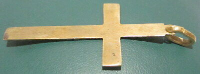 OUTSTANDING VINTAGE BRASS CROSS,ENGRAVING,EARLY 20th. Century !!! # 63A 8