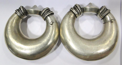 Antique Collectible Ethnic Tribal Old Silver Bracelet Bangle Anklet Pair India