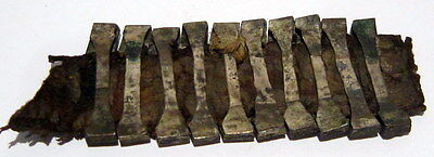 Lot of 10 pcs. Post medieval Silver Belt Mounts 16-18th,W/ Leather Cleaned # 160 4