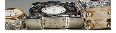 A049 Three English and American Silver Desk Clocks, first quarter 20th century 3
