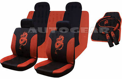 Pink Dragon Car 13pc Mats,Pads,Steering /& Seat Covers