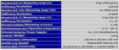 Ec Tds Meter Messgerät Ec-Meter Tester Osmose Test Wasserdichtes Modell  Ec5