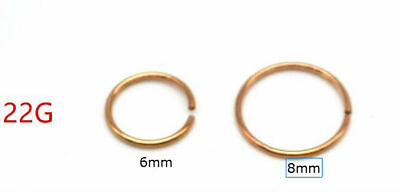 Rose Gold Titanium Anodized Stainless Steel Nose Ring Hoop 8mm 22 Gauge 2 65 Picclick