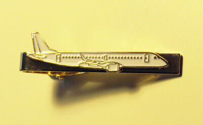 Tiebar Embraer E-JET GOLD/white AIRPLANE Pilots Crew metal tie clip clasp