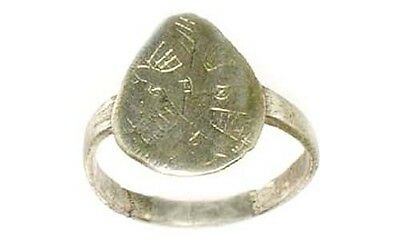 Byzantine Silver Ring Ancient Roman Greek Macedonia Engrave Abstract AD1200 Sz7¼ 2