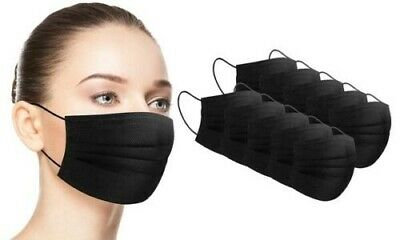 [50Pcs]Black Face Mask Disposable Non Medical Surgical 3-Ply Earloop Mouth Cover 7