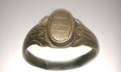 AD1200 Roman Byzantine Constantinople Crusader Engraved Faux Gemstone Ring Sz 10