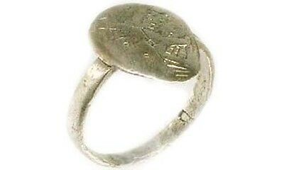 Byzantine Silver Ring Ancient Roman Greek Macedonia Engrave Abstract AD1200 Sz7¼ 4