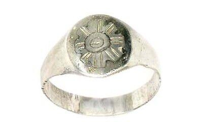 AD900 Ancient Roman-Byzantine Constantinople Istanbul Starburst Silver Ring Sz6½ 2