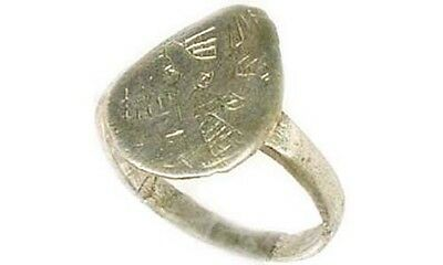 AD1200 Ancient Roman Byzantine Greek Macedonia Engrave Abstract Silver Ring Sz7¼