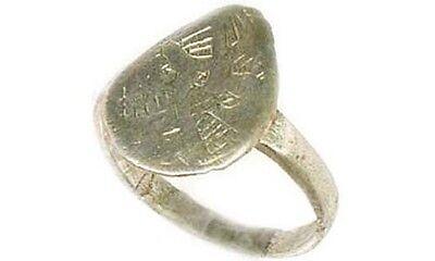 AD1200 Ancient Roman Byzantine Greek Macedonia Engrave Abstract Silver Ring Sz7¼ 3