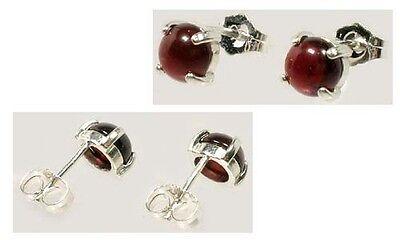 Antique 18thC Garnet Greek Roman Blood Amulet Gemstone Round Stud Earrings