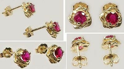 Gold Ruby Earrings 2/3ct Antique 19thC Ancient Celt Druid Persia Rome Magic 14kt 2