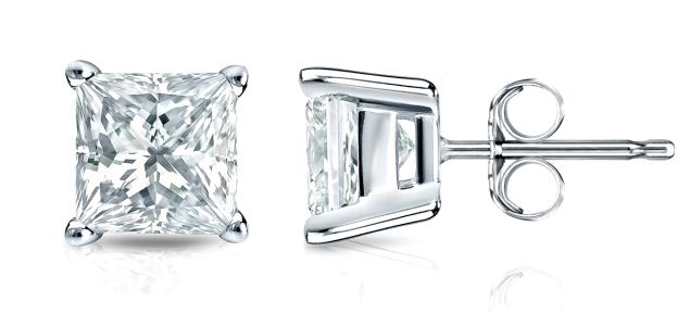 1/2 Ct Diamond Stud Earrings Princess Cut Solitaire Earrings 14K White Gold 2