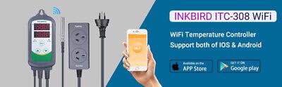 Inkbird ITC-308 WIFI Temp Controller Thermostat 2 Dual Relays 2400W AU Plug Heat 12