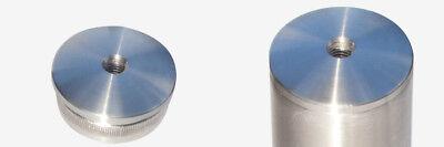 Edelstahl Rohrkappe massiv mit Bohrung Rohrstopfen Deckel 240 K geschliffen V4A