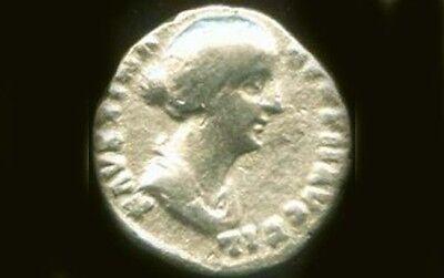 "AD161 Silver Roman Denari Empress Faustina Jr. + Goddess of Harmony ""Concordia"""