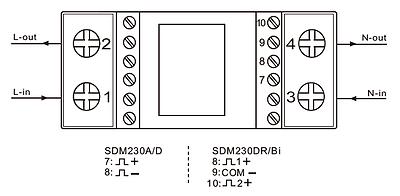 digitaler LCD Wechselstromzähler Stromzähler S0  10(100)A - SDM230DR mom. Watt