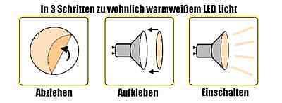 Warmweiß LED Filter CTO Farbfolie Klebefolie Warmlicht GU10 GU5,3 mittel 2