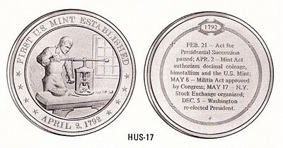 +1792 FIRST U.S MINT Franklin Mint Solid Bronze Medal Uncirculated