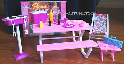 GLORIA Dollhouse FURNITURE SIZE Picnic Benches W/Cooler PLAYSET FOR Dolls 2
