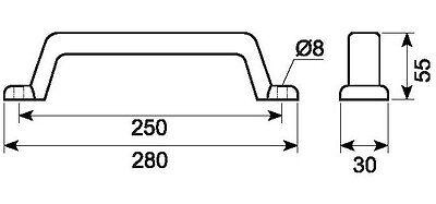 Handgriff Rangiergriff Anh/ängergriff Griff f/ür Pkw Anh/änger 250mm Lochabstand
