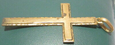 OUTSTANDING VINTAGE BRASS CROSS,ENGRAVING,EARLY 20th. Century !!! # 63A 6