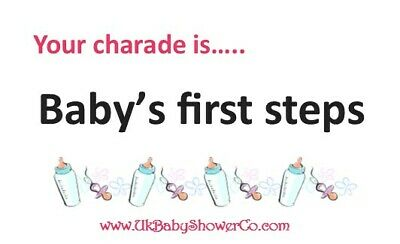 Baby Shower Game, CHARADES- GIRLS, pink, party game, baby shower, baby 3