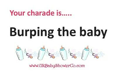 Baby Shower Game, CHARADES- GIRLS, pink, party game, baby shower, baby 4