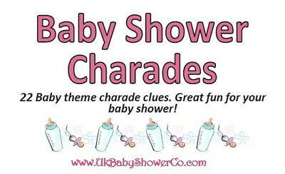 Baby Shower Game, CHARADES- GIRLS, pink, party game, baby shower, baby 2