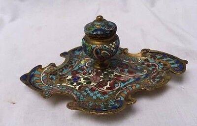Antique Ink Holder Russian Enamel Brass 2