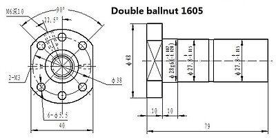 20mm HIWIN Linear guide rail carriages Ball screws DOUBLE BALLNUT for CNC