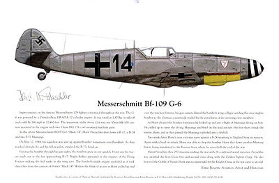 FOUR! Famous Bf-109's Signed by Pilots, Aviation Art 8