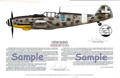 FOUR! Famous Bf-109's Signed by Pilots, Aviation Art 3
