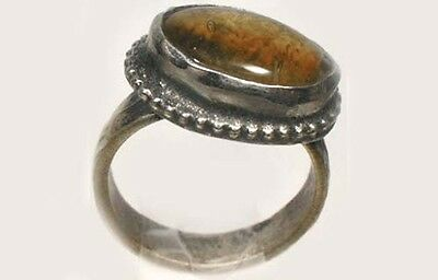 """18thC Antique Crimean Russian Tatar Silver Ring Glass """"Amber Gemstone"""" Size 8 4"""