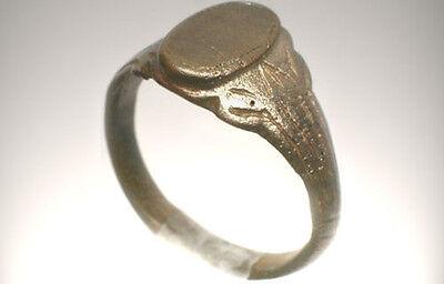 AD1200 Roman Byzantine Constantinople Crusader Engraved Faux Gemstone Ring Sz 10 4