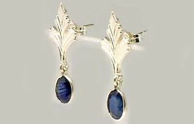 Antique 19thC Sapphire Celtic Roman Greek Sorcery Sterling Dangle Earrings 2