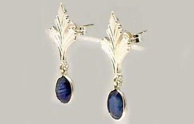 Antique 19thC Sapphire Celtic Roman Greek Sorcery Sterling Dangle Earrings 2