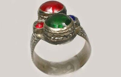 18thC Southern Russia Silver Ruby Red Sapphire Blue Emerald Green Glass Gems Sz8 3