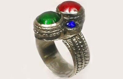 18thC Southern Russia Silver Ruby Red Sapphire Blue Emerald Green Glass Gems Sz8 4
