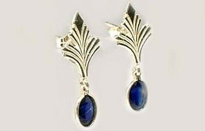 Antique 19thC Sapphire Celtic Roman Greek Sorcery Sterling Dangle Earrings 3
