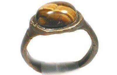 AD300 Roman Epirus (Albania) Ring Sz4¾ + Antique 19thC Yemen Mahogany Obsidian 2