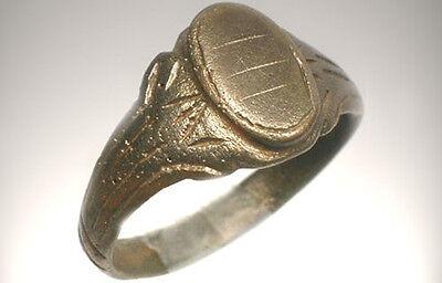 AD1200 Roman Byzantine Constantinople Crusader Engraved Faux Gemstone Ring Sz 10 2