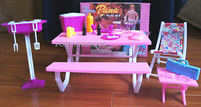 GLORIA Dollhouse FURNITURE SIZE Picnic Benches W/Cooler PLAYSET FOR Dolls 3
