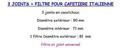 3 Joints + Filtre Cafetiere Italienne Universel12 Tasses Taille Voir Photo 2