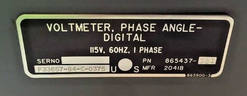 Phase-Angle Digital Voltmeter Model 225 865437-301 DRS Sustainment Systems 2