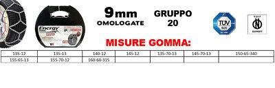 GRUPPO70 KIT COPPIA CATENE DA NEVE 9MM OMOLOGATE TUV GS 195//55-15