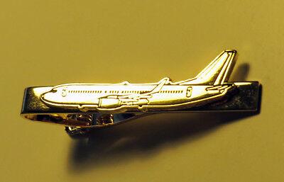 Tiebar BOEING 737 GOLD AIRPLANE Pilots Crew metal tie clip clasp B737