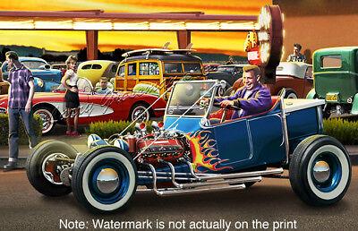 Hot Rod Art Print by Larry Grossman CRUISIN/' FOR BURGERS