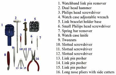 16pcs Watch Repair Tool Kit Band Strap Link Remover Back Opener Screwdriver UK 3
